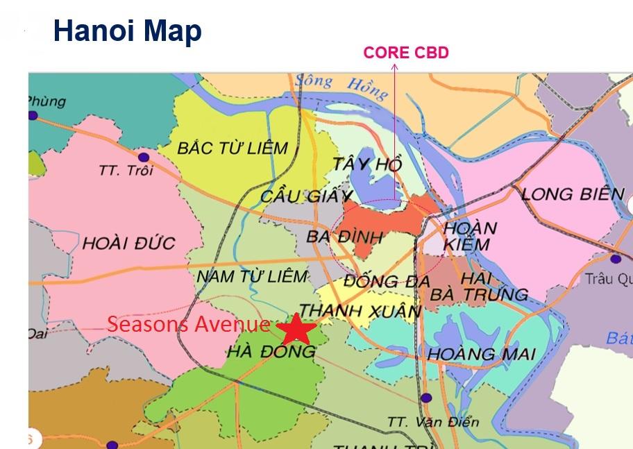 Seasons Avenue Hanoi location in Hadong, near to New CBD