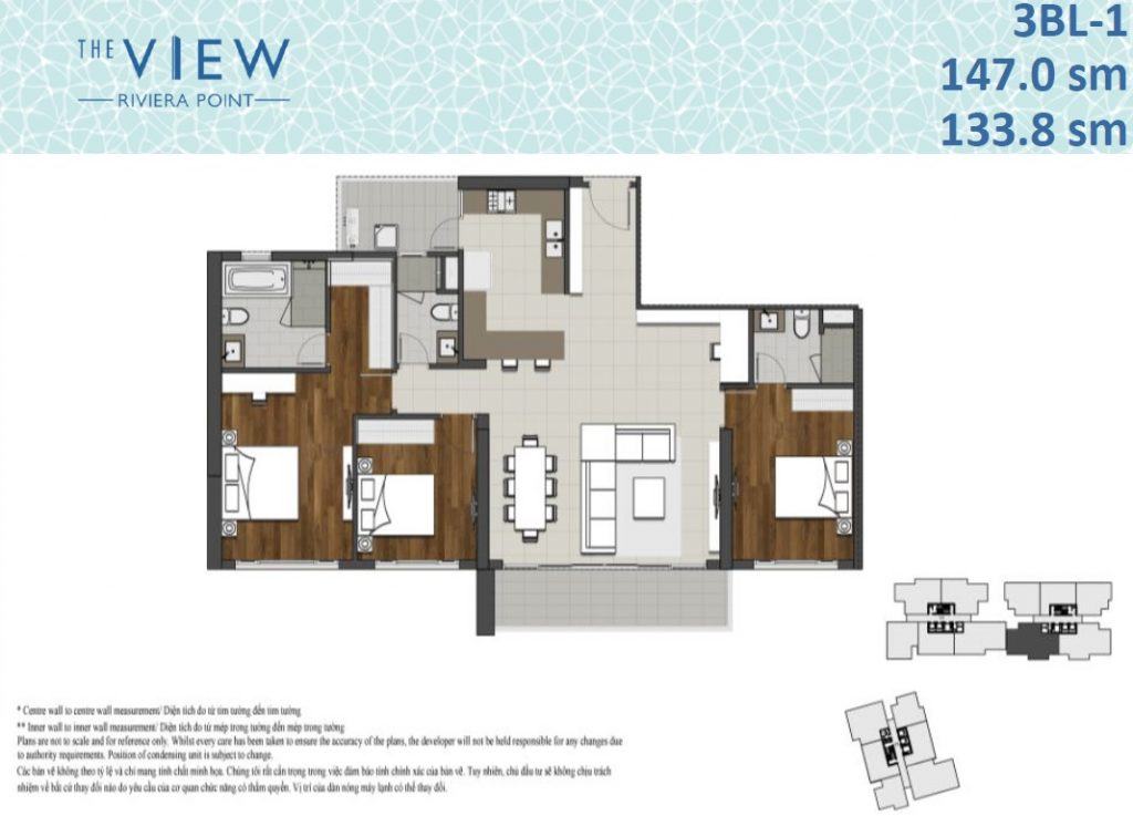 The View Floor Plan 3BR 133.8sqm