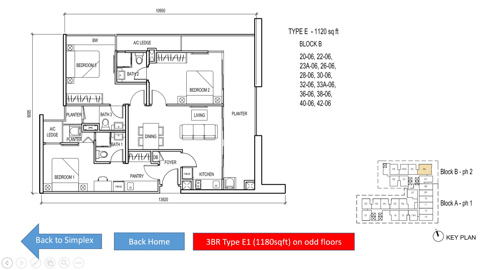 The Luxe KL Floor Plan 3BR Simplex - Type E (1120sqft)